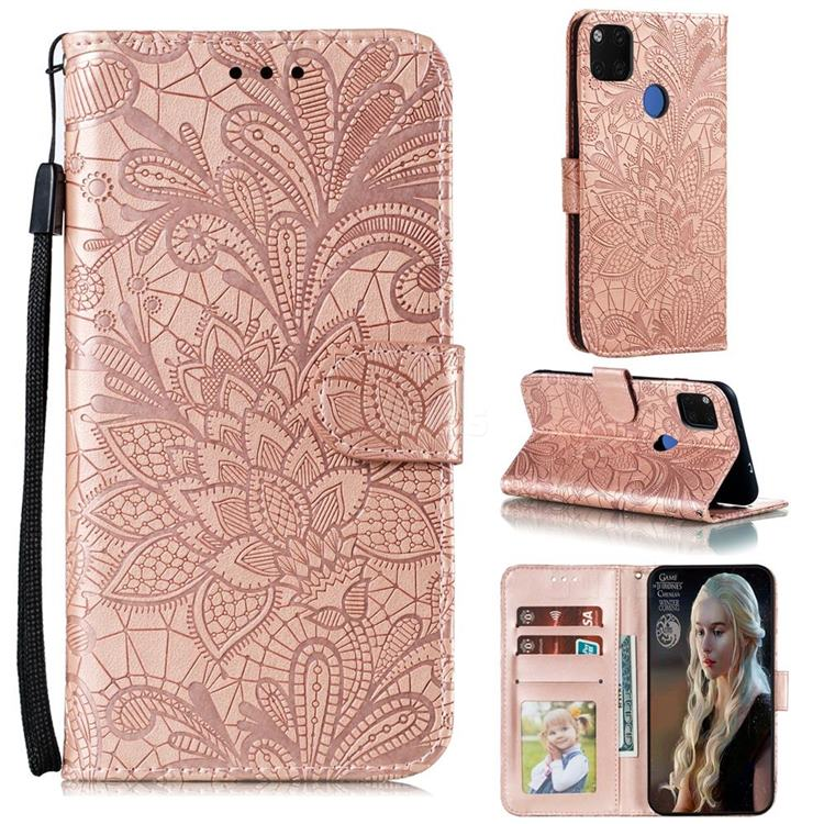 Intricate Embossing Lace Jasmine Flower Leather Wallet Case for Xiaomi Redmi 9C - Rose Gold