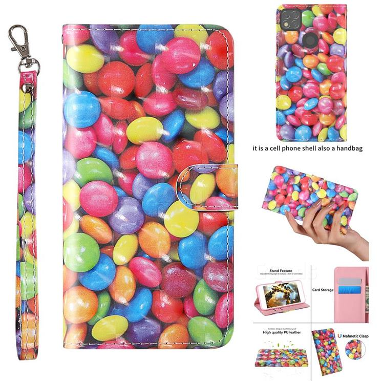 Colorful Jelly Beans 3D Painted Leather Wallet Case for Xiaomi Redmi 9C