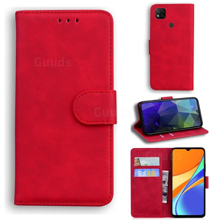 Retro Classic Skin Feel Leather Wallet Phone Case for Xiaomi Redmi 9C - Red