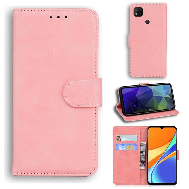 Retro Classic Skin Feel Leather Wallet Phone Case for Xiaomi Redmi 9C - Pink