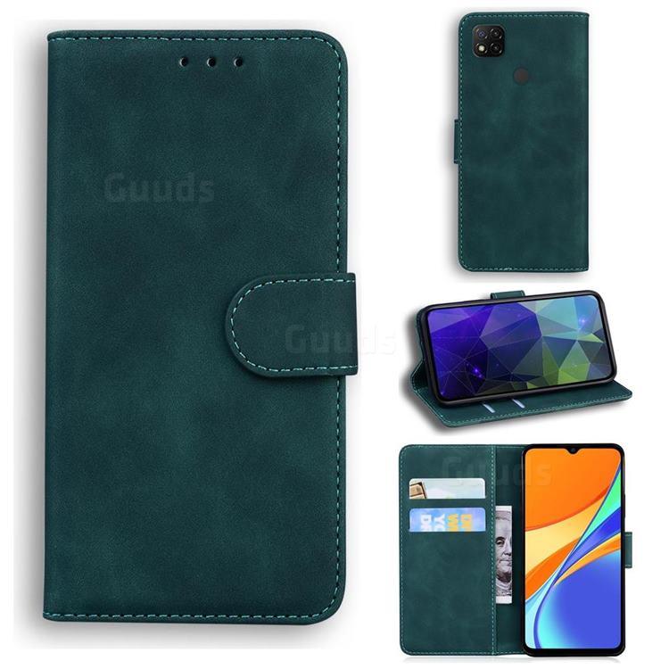Retro Classic Skin Feel Leather Wallet Phone Case for Xiaomi Redmi 9C - Green