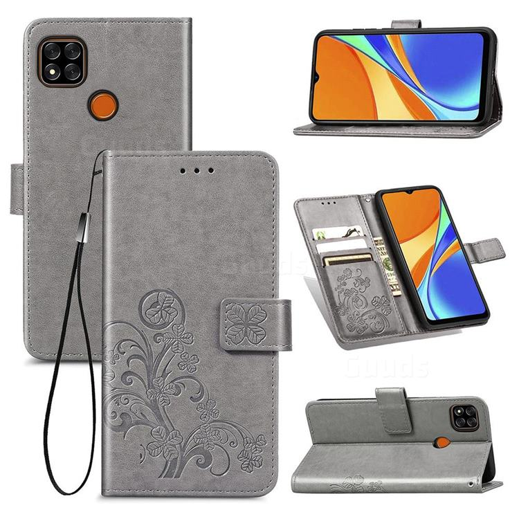 Embossing Imprint Four-Leaf Clover Leather Wallet Case for Xiaomi Redmi 9C - Grey