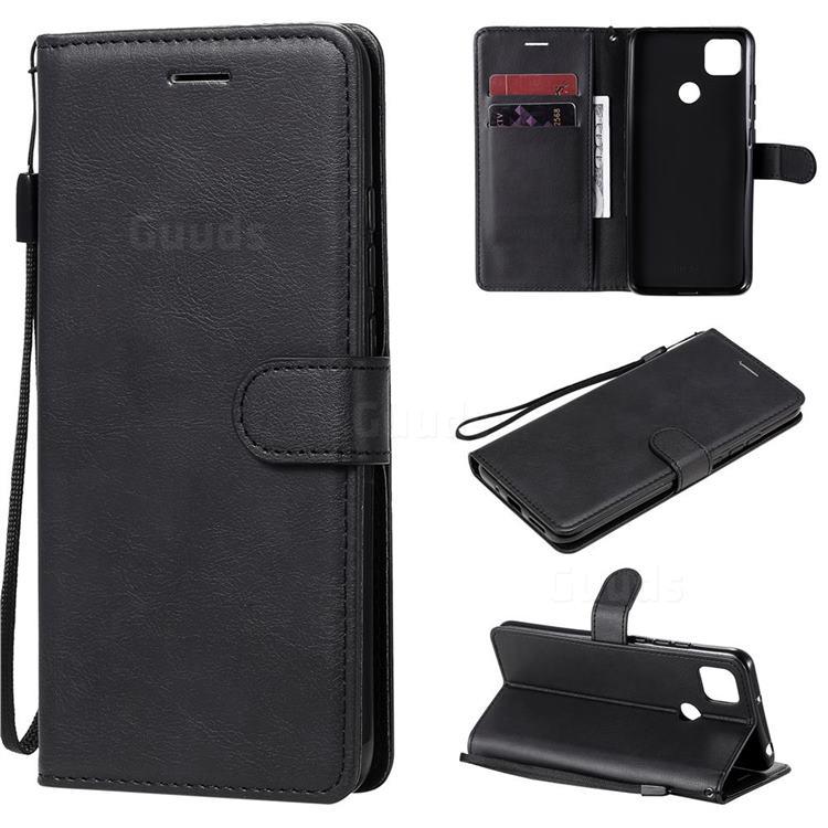 Retro Greek Classic Smooth PU Leather Wallet Phone Case for Xiaomi Redmi 9C - Black