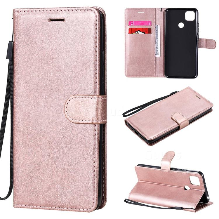 Retro Greek Classic Smooth PU Leather Wallet Phone Case for Xiaomi Redmi 9C - Rose Gold