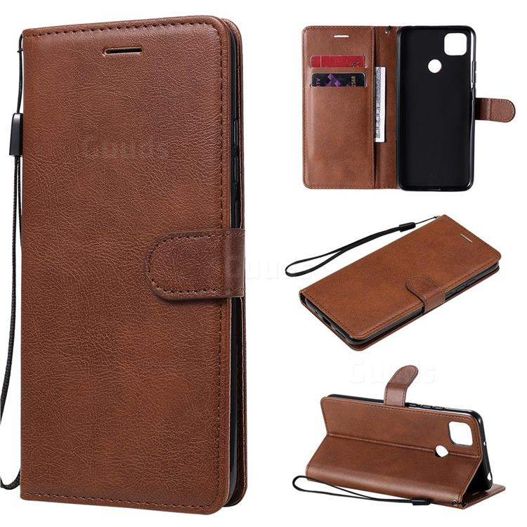 Retro Greek Classic Smooth PU Leather Wallet Phone Case for Xiaomi Redmi 9C - Brown