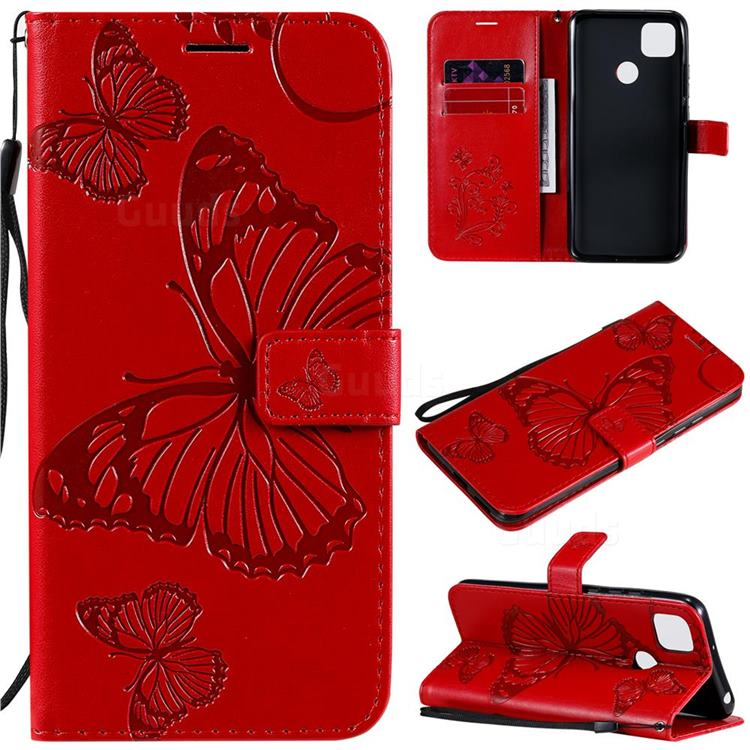 Embossing 3D Butterfly Leather Wallet Case for Xiaomi Redmi 9C - Red