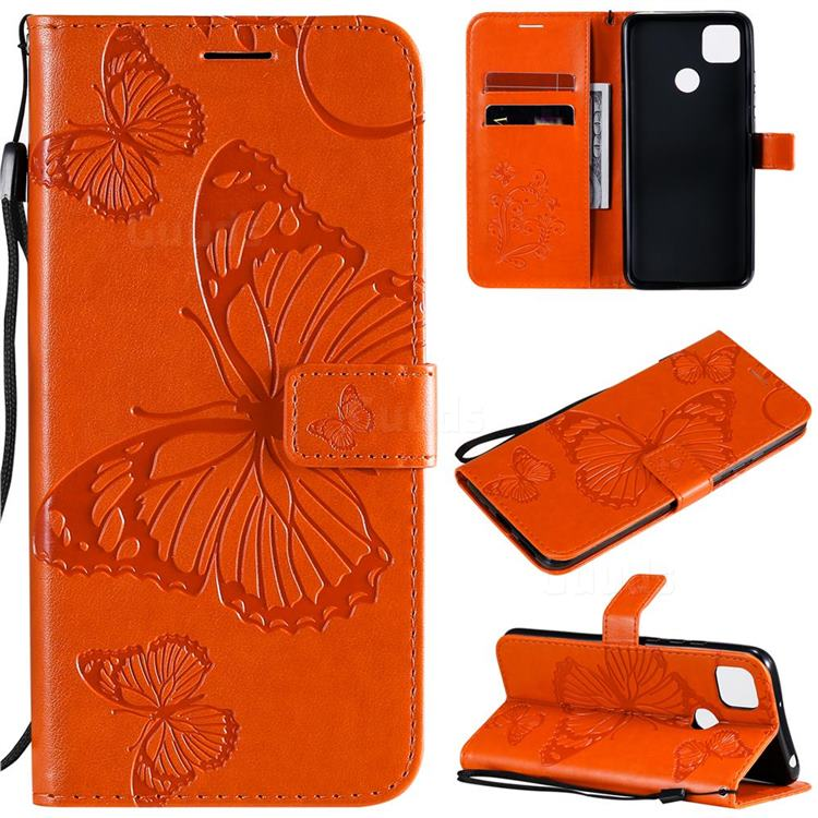 Embossing 3D Butterfly Leather Wallet Case for Xiaomi Redmi 9C - Orange