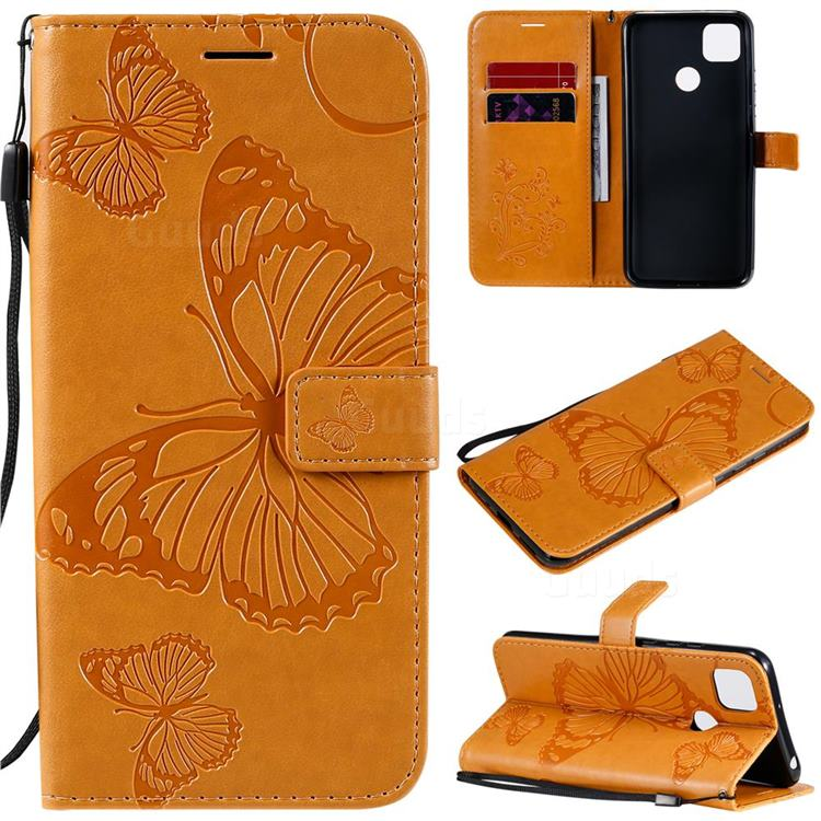 Embossing 3D Butterfly Leather Wallet Case for Xiaomi Redmi 9C - Yellow