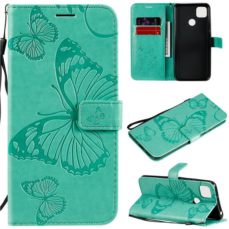 Embossing 3D Butterfly Leather Wallet Case for Xiaomi Redmi 9C - Green