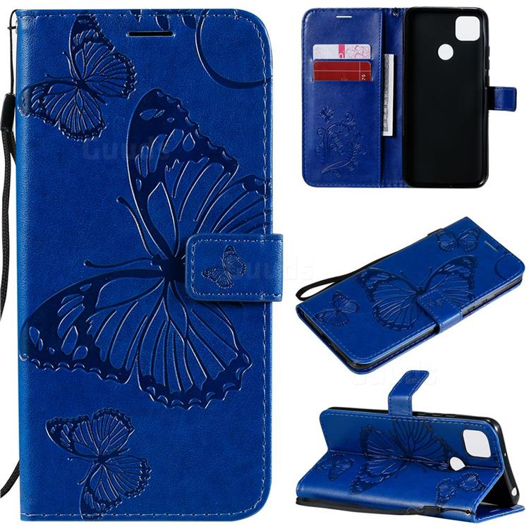 Embossing 3D Butterfly Leather Wallet Case for Xiaomi Redmi 9C - Blue