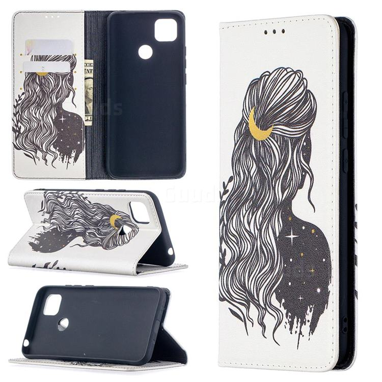 Girl with Long Hair Slim Magnetic Attraction Wallet Flip Cover for Xiaomi Redmi 9C