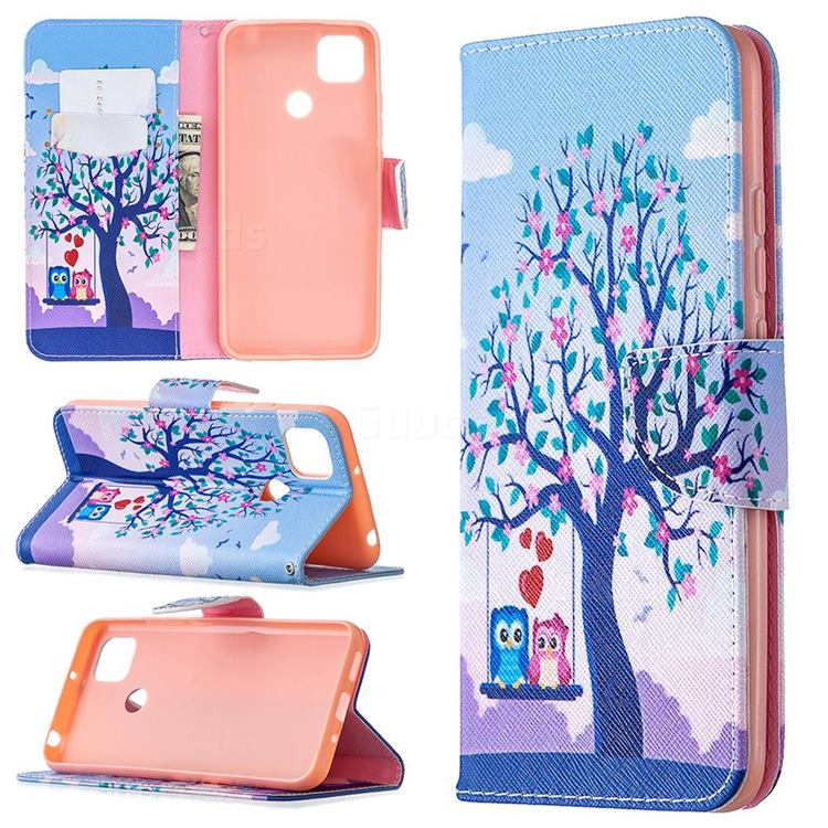 Tree and Owls Leather Wallet Case for Xiaomi Redmi 9C