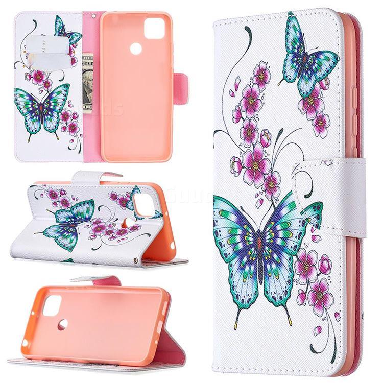 Peach Butterflies Leather Wallet Case for Xiaomi Redmi 9C