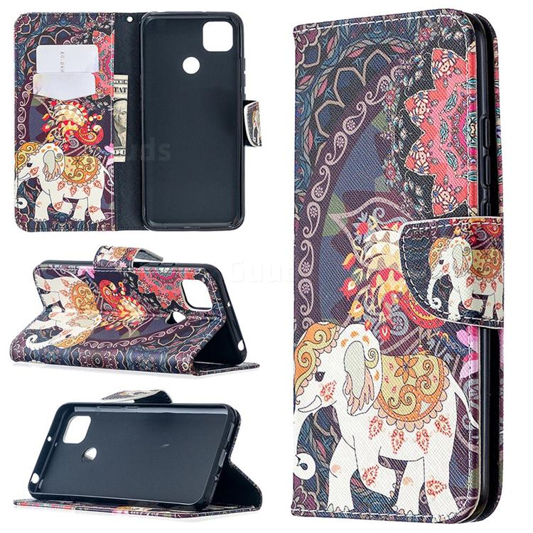 Totem Flower Elephant Leather Wallet Case for Xiaomi Redmi 9C