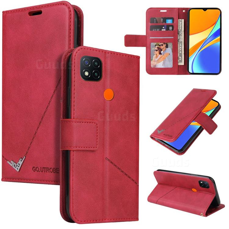 GQ.UTROBE Right Angle Silver Pendant Leather Wallet Phone Case for Xiaomi Redmi 9C - Red