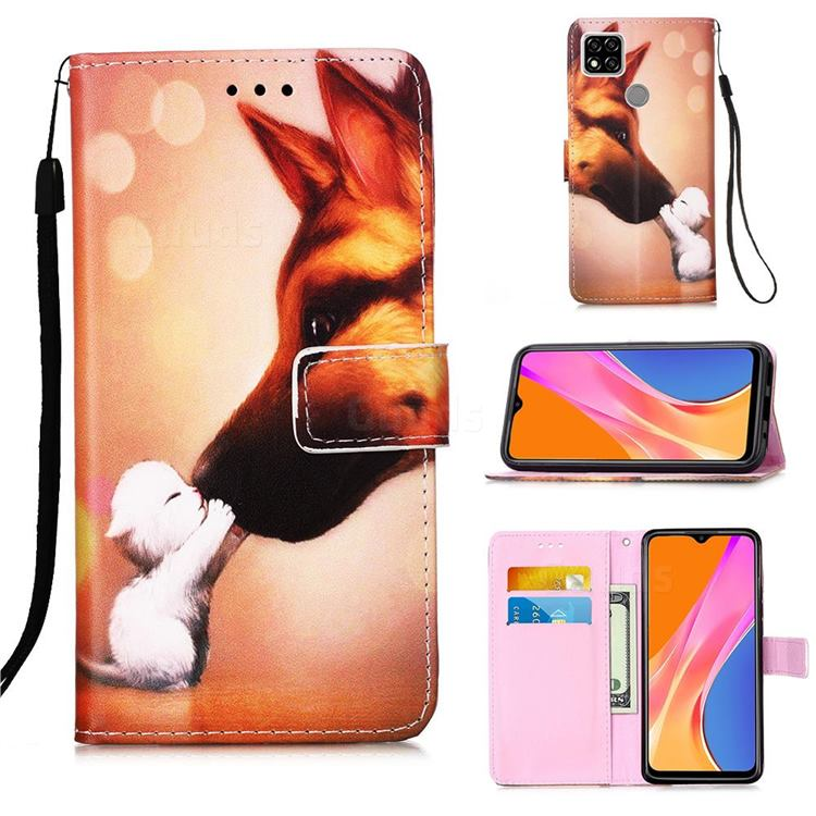 Hound Kiss Matte Leather Wallet Phone Case for Xiaomi Redmi 9C