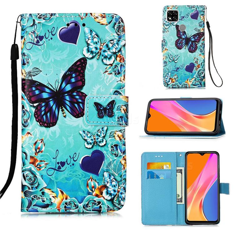 Love Butterfly Matte Leather Wallet Phone Case for Xiaomi Redmi 9C