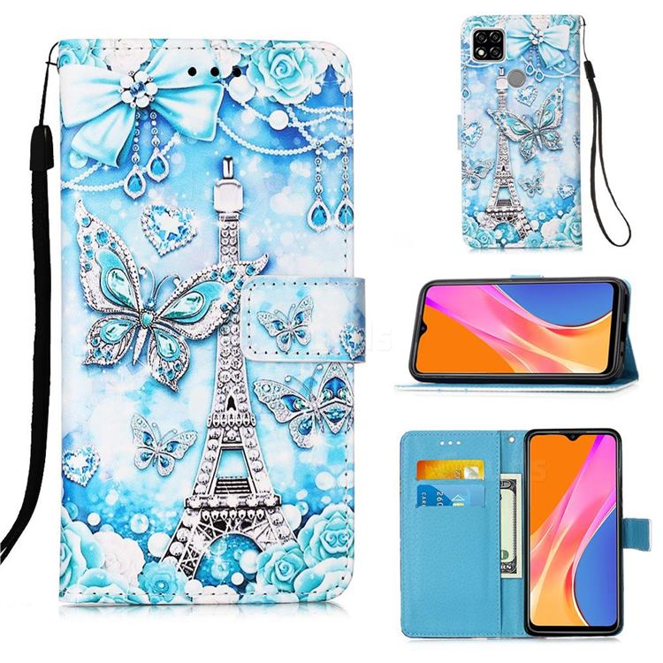 Tower Butterfly Matte Leather Wallet Phone Case for Xiaomi Redmi 9C