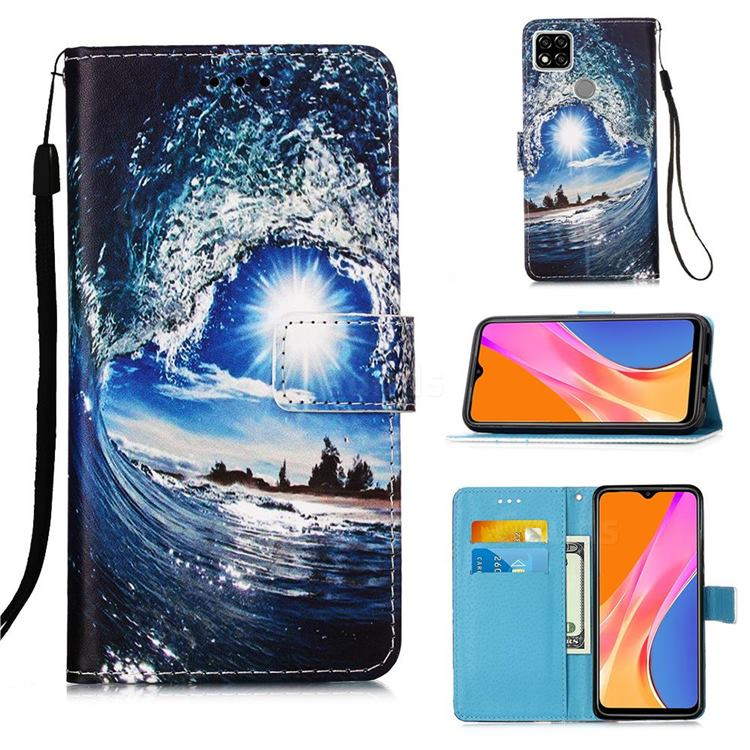 Waves and Sun Matte Leather Wallet Phone Case for Xiaomi Redmi 9C