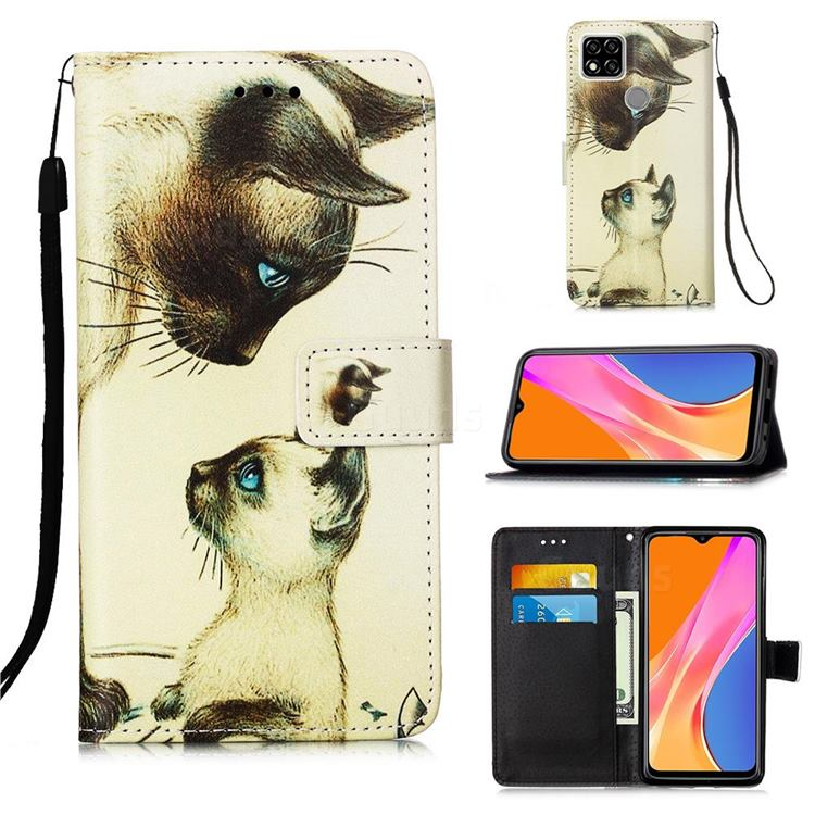 Cat Confrontation Matte Leather Wallet Phone Case for Xiaomi Redmi 9C