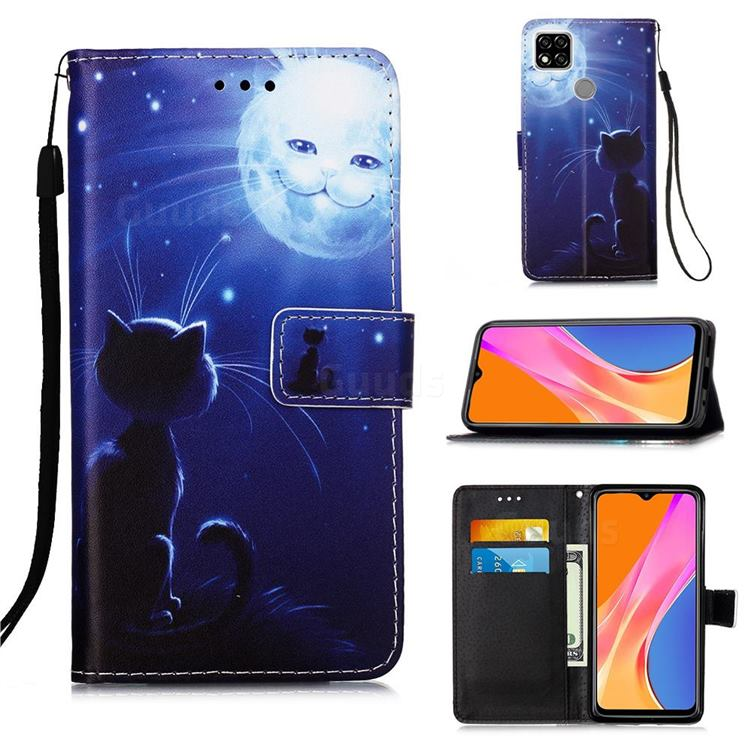 Cat and Moon Matte Leather Wallet Phone Case for Xiaomi Redmi 9C