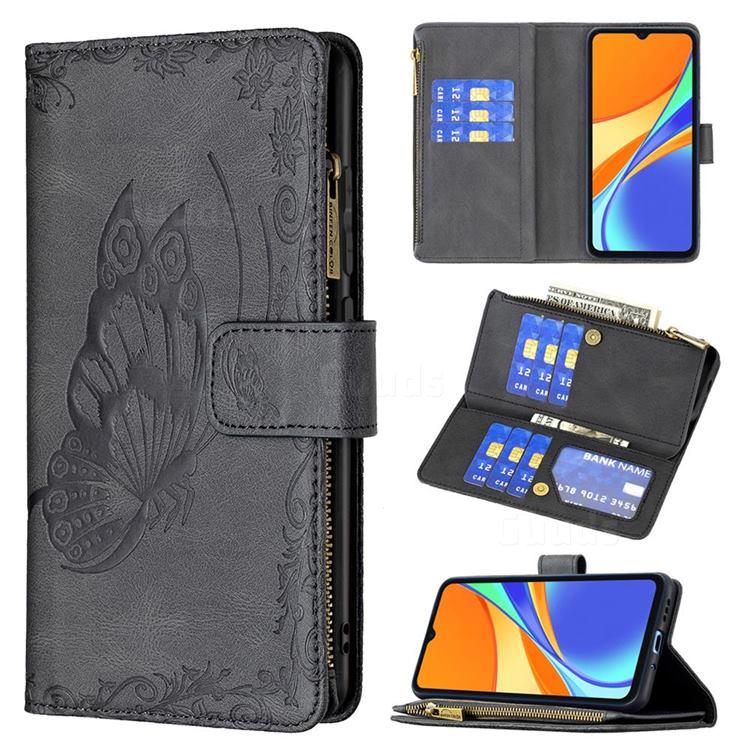 Binfen Color Imprint Vivid Butterfly Buckle Zipper Multi-function Leather Phone Wallet for Xiaomi Redmi 9C - Black