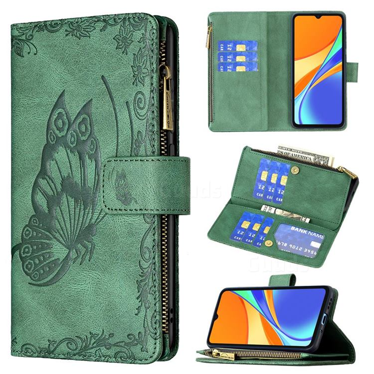 Binfen Color Imprint Vivid Butterfly Buckle Zipper Multi-function Leather Phone Wallet for Xiaomi Redmi 9C - Green