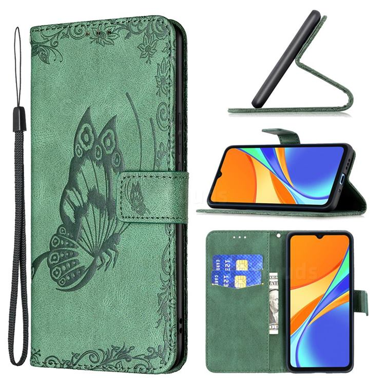 Binfen Color Imprint Vivid Butterfly Leather Wallet Case for Xiaomi Redmi 9C - Green