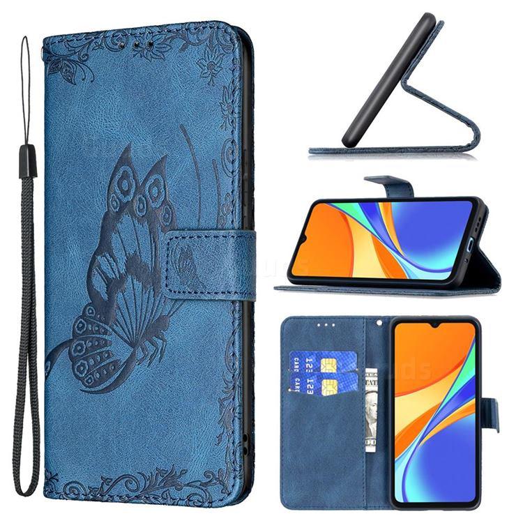 Binfen Color Imprint Vivid Butterfly Leather Wallet Case for Xiaomi Redmi 9C - Blue
