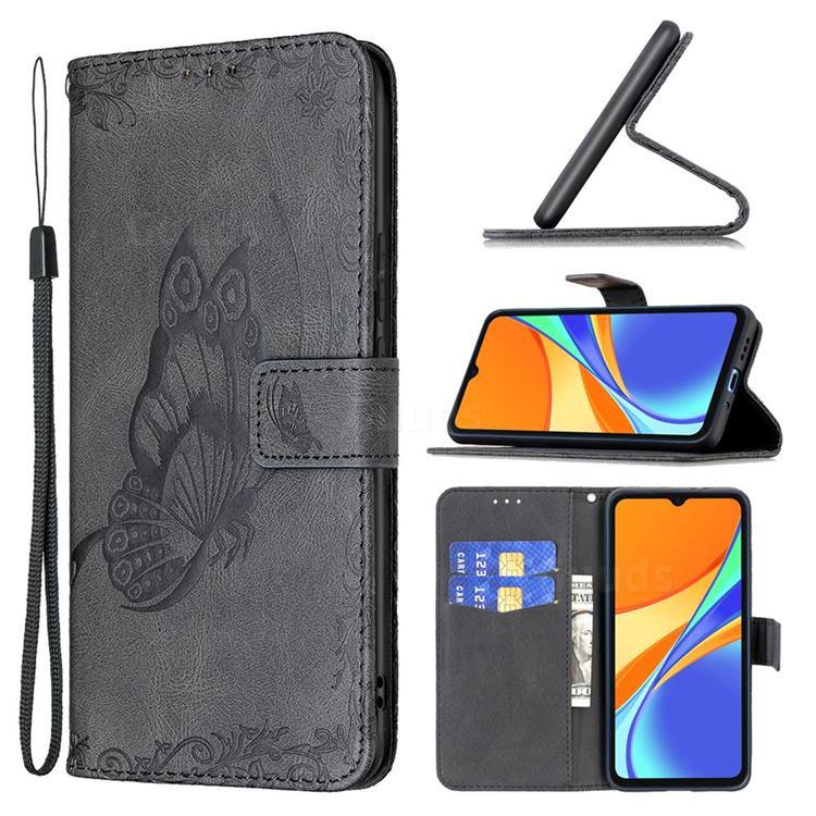 Binfen Color Imprint Vivid Butterfly Leather Wallet Case for Xiaomi Redmi 9C - Black
