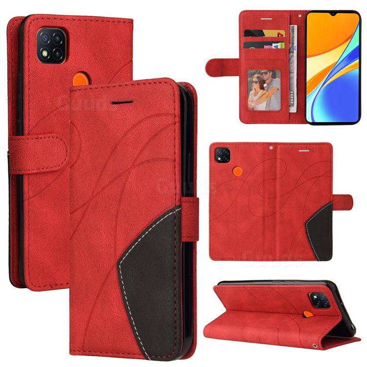 Luxury Two-color Stitching Leather Wallet Case Cover for Xiaomi Redmi 9C - Red