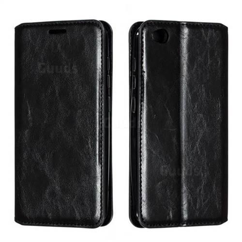 Retro Slim Magnetic Crazy Horse PU Leather Wallet Case for Mi Xiaomi Redmi Go - Black