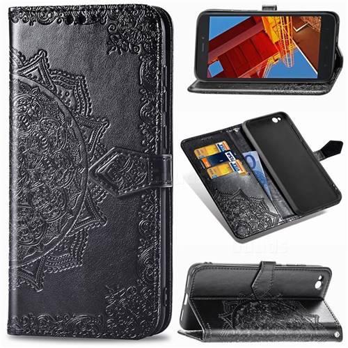 Embossing Imprint Mandala Flower Leather Wallet Case for Mi Xiaomi Redmi Go - Black
