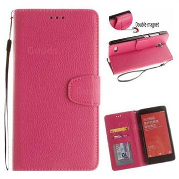 Litchi Pattern PU Holster Leather Wallet Case for Xiaomi Redmi Note Hongmi Note - Rose