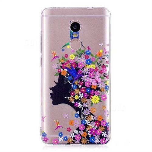 new arrival 6af61 9888f Floral Bird Girl Super Clear Soft TPU Back Cover for Xiaomi Redmi Note 4  Red Mi Note4