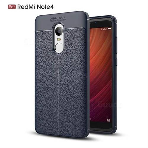 Luxury Auto Focus Litchi Texture Silicone TPU Back Cover for Xiaomi Redmi Note 4 Red Mi Note4 - Dark Blue