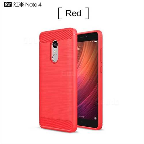 premium selection 55176 4c7bf Luxury Carbon Fiber Brushed Wire Drawing Silicone TPU Back Cover for Xiaomi  Redmi Note 4 Red Mi Note4 - Red