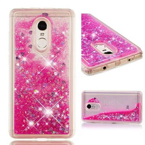 Dynamic Liquid Glitter Quicksand Sequins TPU Phone Case for Xiaomi Redmi Note 4 Red Mi Note4 - Rose