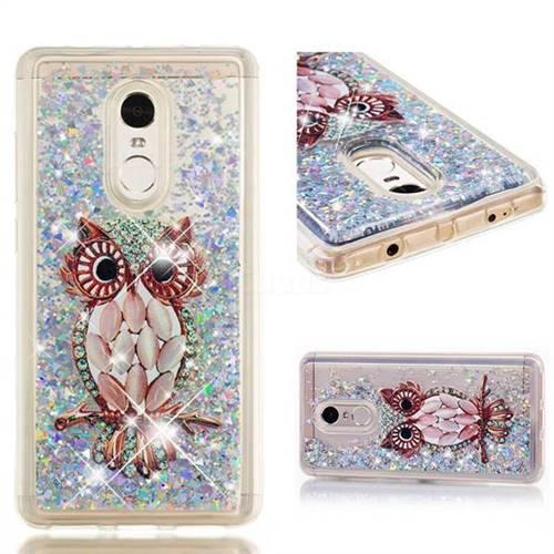 Dynamic Liquid Glitter Quicksand Soft TPU Case for Xiaomi Redmi Note 4 Red Mi Note4 - Seashell Owl