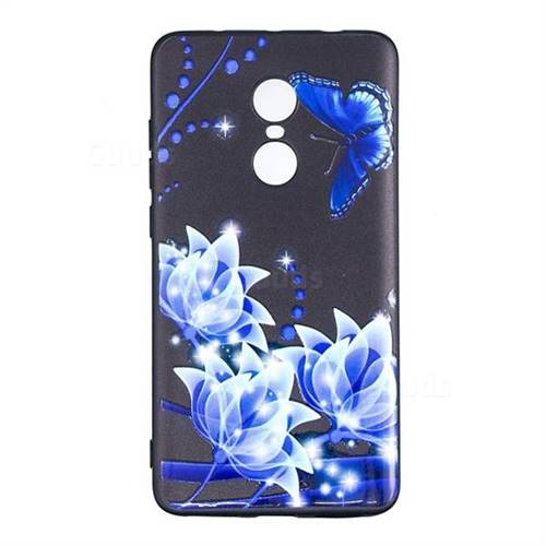 half off 83566 b3300 Blue Butterfly 3D Embossed Relief Black TPU Cell Phone Back Cover for  Xiaomi Redmi Note 4 Red Mi Note4