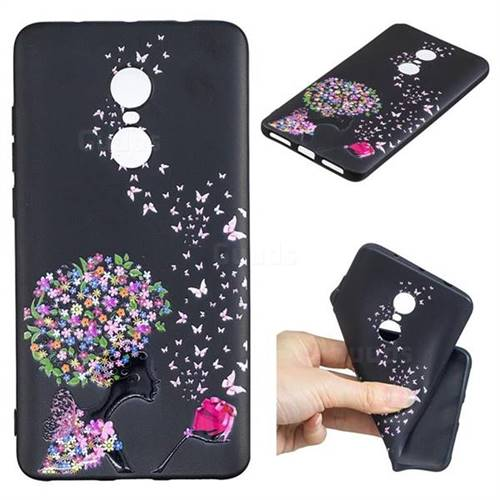Corolla Girl 3D Embossed Relief Black TPU Cell Phone Back Cover for Xiaomi Redmi Note 4 Red Mi Note4