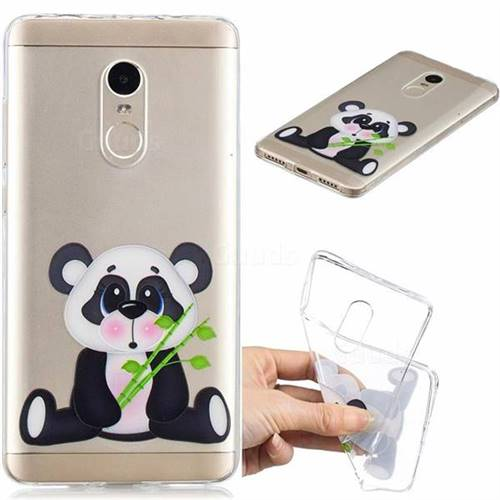 Bamboo Panda Clear Varnish Soft Phone Back Cover for Xiaomi Redmi Note 4 Red Mi Note4