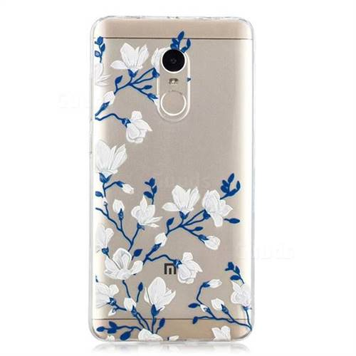 brand new 07514 5bc21 Magnolia Flower Clear Varnish Soft Phone Back Cover for Xiaomi Redmi Note 4  Red Mi Note4