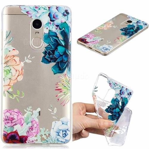 Gem Flower Clear Varnish Soft Phone Back Cover for Xiaomi Redmi Note 4 Red Mi Note4