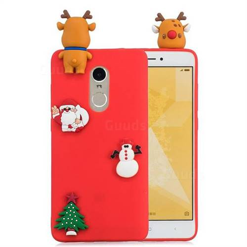 Red Elk Christmas Xmax Soft 3D Silicone Case for Xiaomi Redmi Note 4 Red Mi Note4