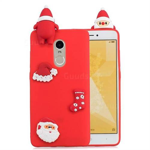 Red Santa Claus Christmas Xmax Soft 3D Silicone Case for Xiaomi Redmi Note 4 Red Mi Note4