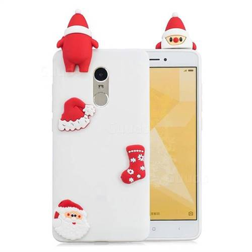 White Santa Claus Christmas Xmax Soft 3D Silicone Case for Xiaomi Redmi Note 4 Red Mi Note4