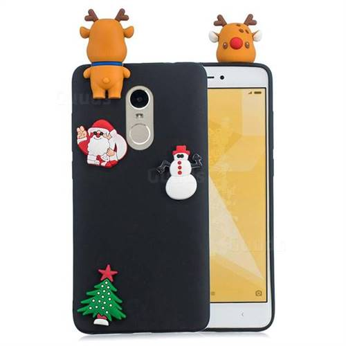Black Elk Christmas Xmax Soft 3D Silicone Case for Xiaomi Redmi Note 4 Red Mi Note4