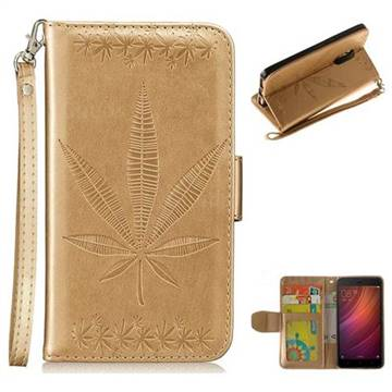 Intricate Embossing Maple Leather Wallet Case for Xiaomi Redmi Note 4 Red Mi Note4 - Champagne