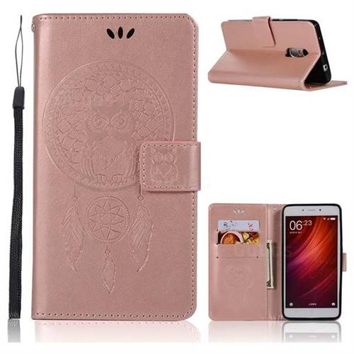 size 40 a8bb3 f3b23 Intricate Embossing Owl Campanula Leather Wallet Case for Xiaomi Redmi Note  4 Red Mi Note4 - Rose Gold
